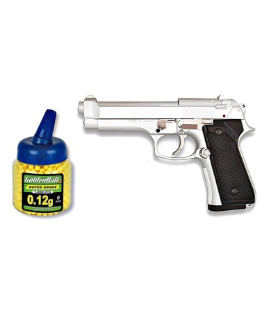 35163 Martínez. Pack Pistola airsoft M92F plata