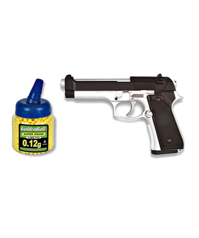 35143 Martínez. Pack Pistola airsoft M92F plata/negra