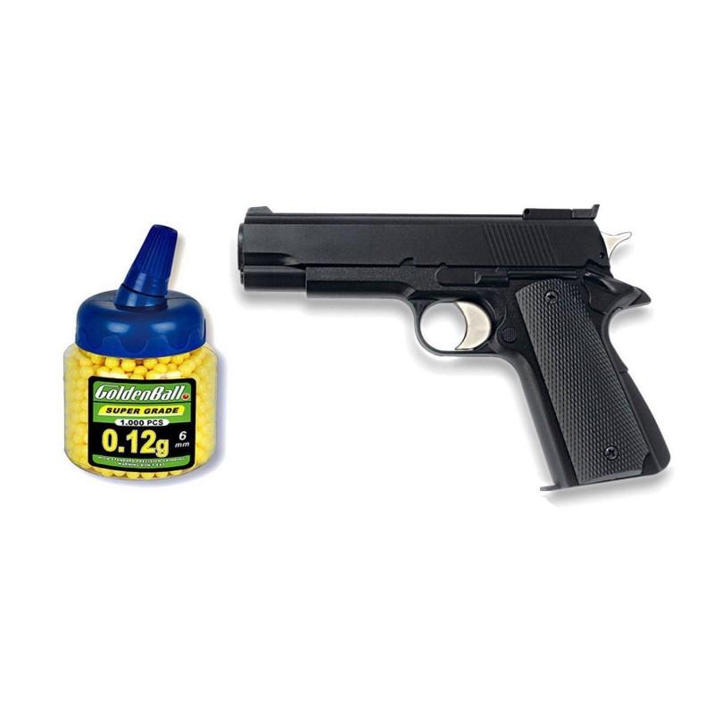 35710 Martínez. Pack Pistola airsoft HFC negra ligera