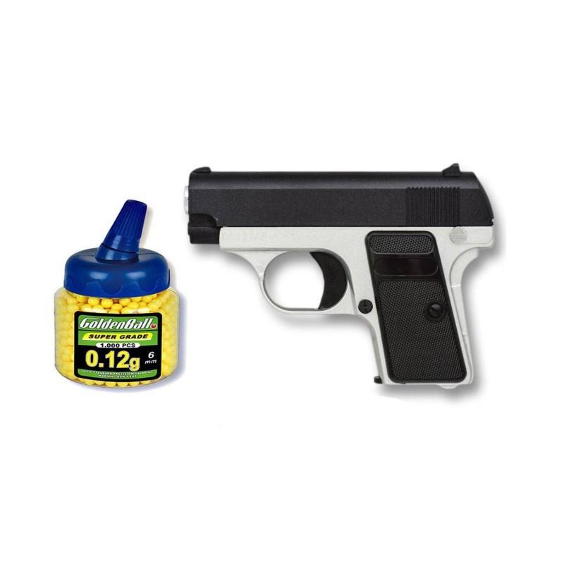 35502 Martínez. Pack pistola airsoft Mini G1 negra/plata