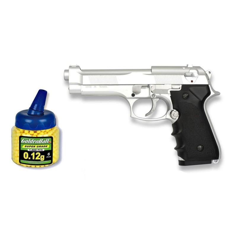 35167 Martínez. Pack Pistola airsoft M92F plata