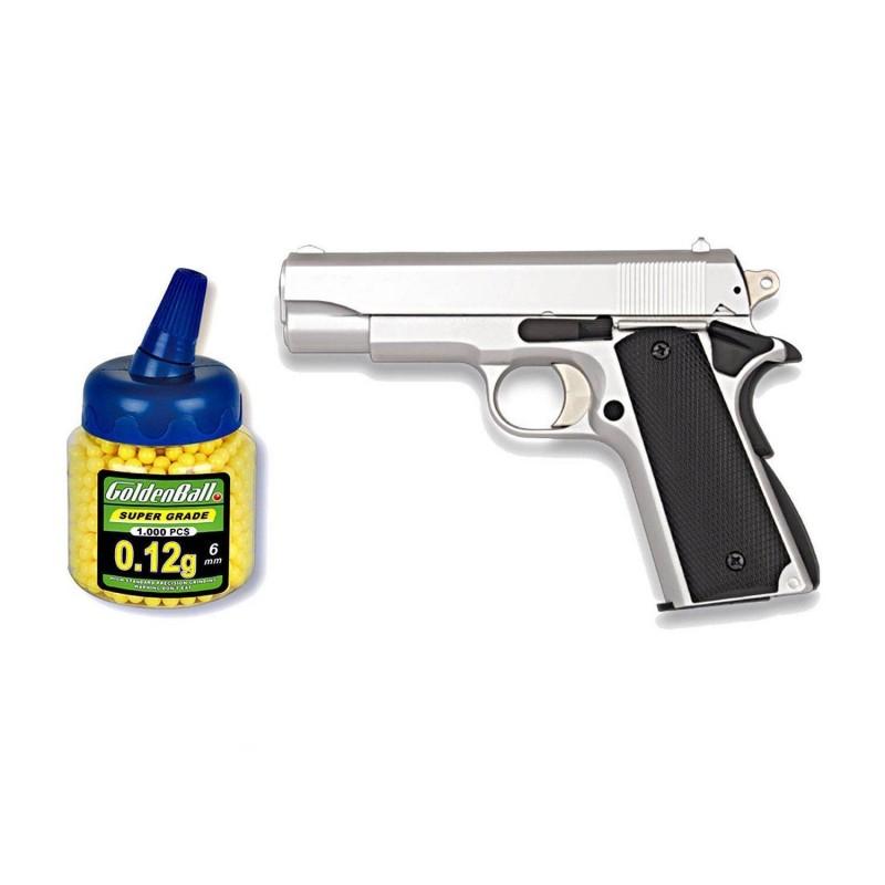 35712 Martínez. Pack Pistola airsoft HFC plata