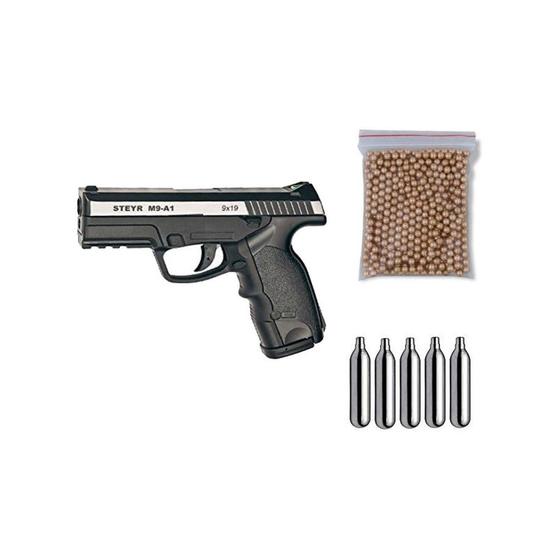 ASG16553 Gamo. Pack Pistola perdigón Steyr M9-A1 Dual Tone 4,5mm