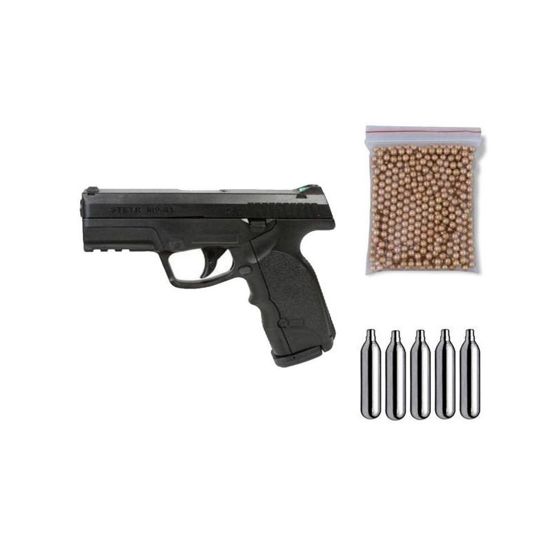 ASG16088 Gamo. Pack Pistola perdigón Steyr M9-A1 Negra Cal.4,5mm