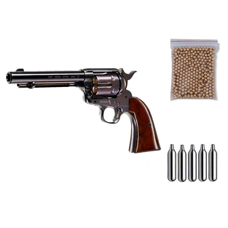 U58308 Zasdar. Pack Revólver perdigón Colt 45 Pavonado Cal.4,5mm