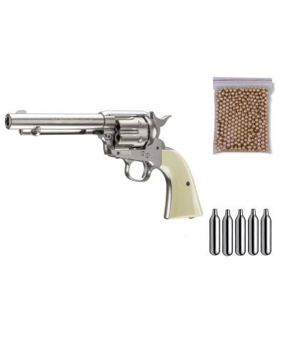 U58309 Zasdar. Pack Revólver perdigón Colt 45 Plateado Cal.4,5mm