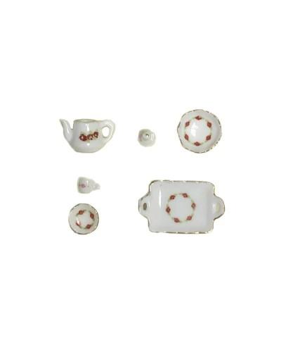 1/12 Pack Vajilla Porcelana Roja