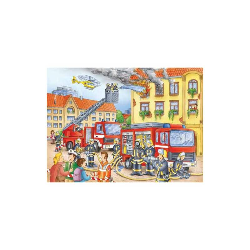 108220. Puzzle Ravensburger 100 piezas XXL, Nuestros bomberos