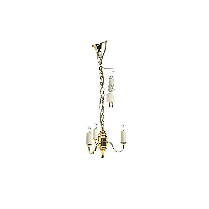 12767 Artesanía Latína. Lámpara de Techo de 3 brazos de velas