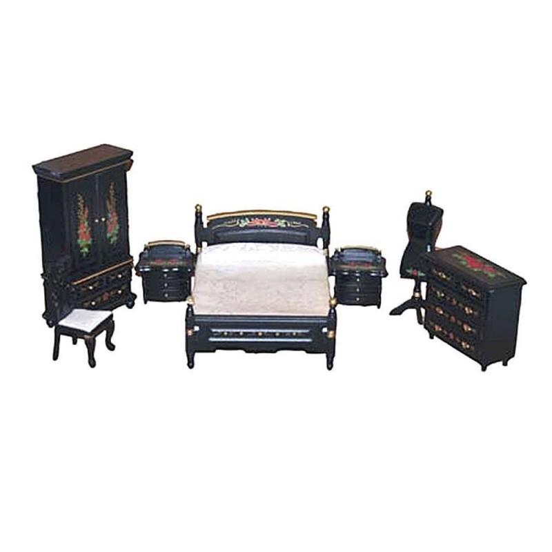 36DF866 Chaves. Conjunto muebles dormitorio negro/rosa 7 piezas