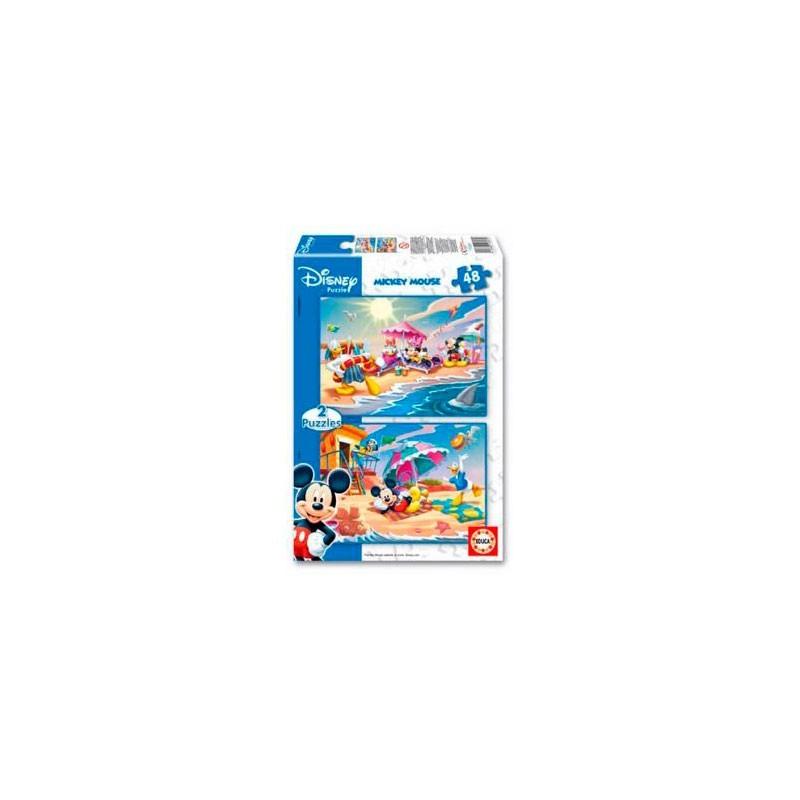 Puzzle 2x48 Piezas Mickey Mouse Sun & Surf