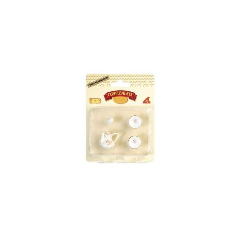 12384 Artesanía Latina. Pack Cafetera con 2 platos porcelana