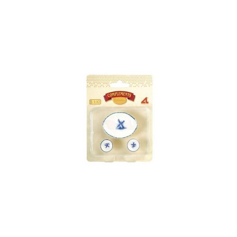 12302 Artesanía Latina. Pack 2 platos con Ensaladera Molino Azul