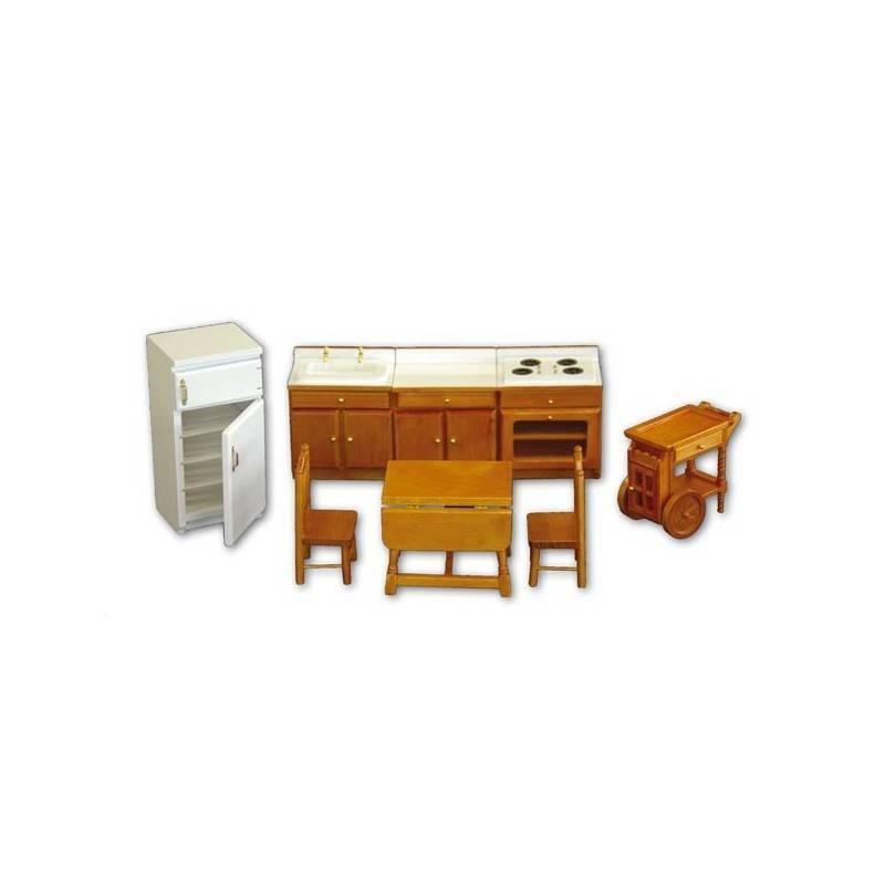 36107 Chaves. Conjunto muebles Cocina de Madera 8 piezas