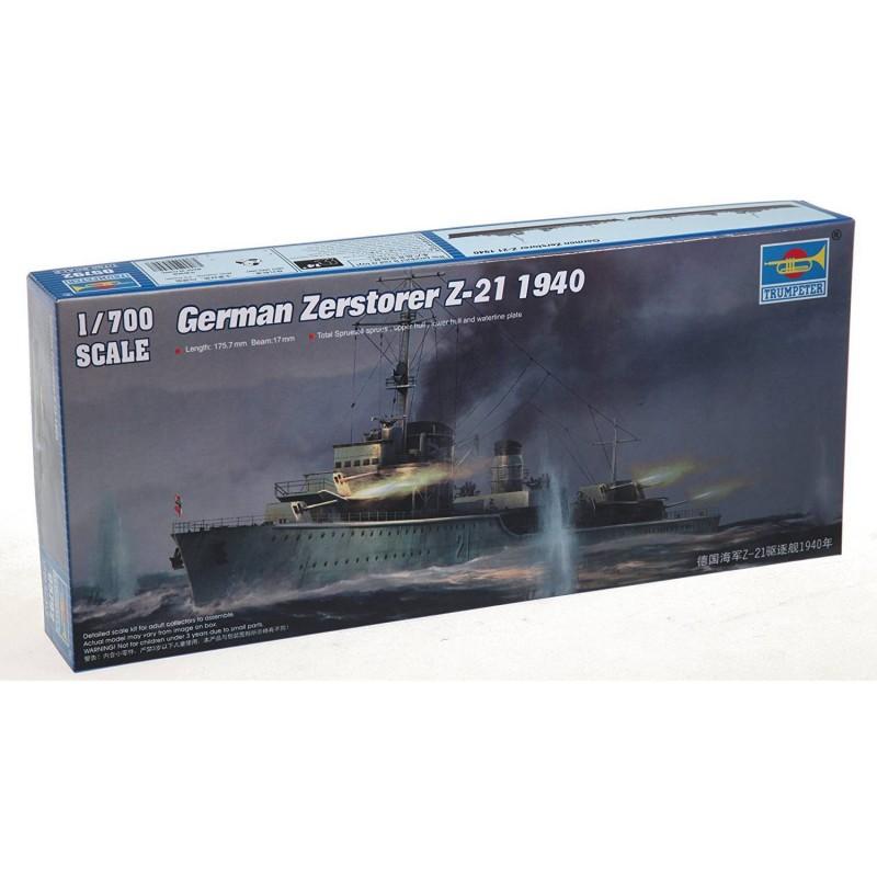 545792 Trumpeter. 1/700 German Zerstorer Z-21 1940