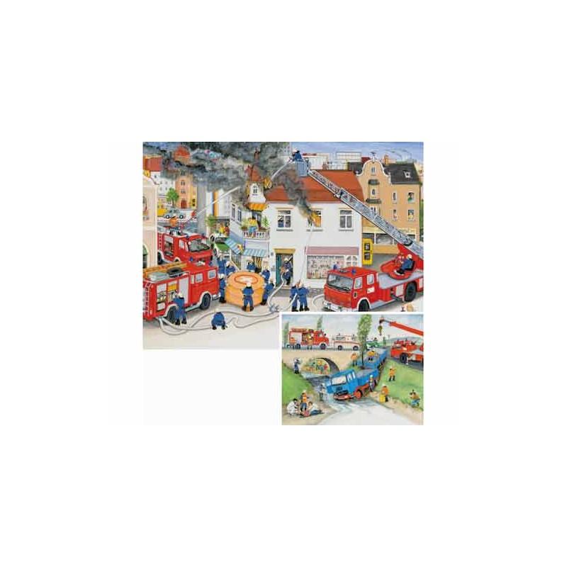 89093. Puzzle Ravensburger 2x20 piezas, Con los bomberos