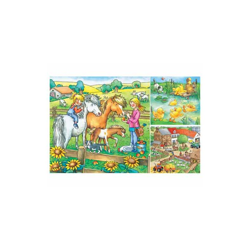 92932. Puzzle Ravensburger 3x49 piezas, Animales de granja