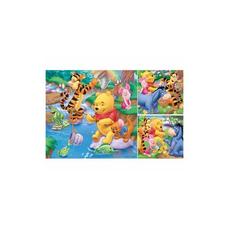 92765. Puzzle Ravensburger 3x49 piezas, Winnie pescando