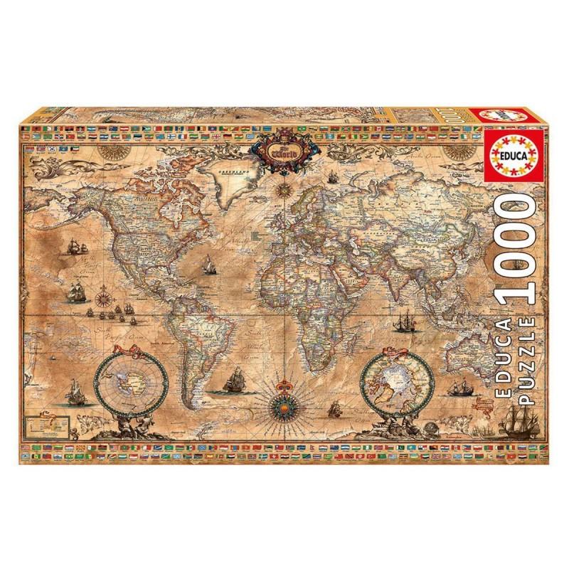 15159 Educa. Puzzle 1000 Piezas Mapamundi Antiguo