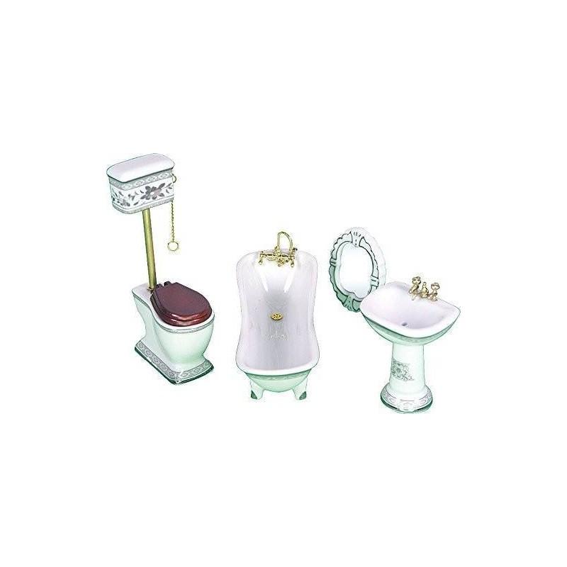 SP639. Ambiente Baño de porcelana 5 piezas casa de muñecas