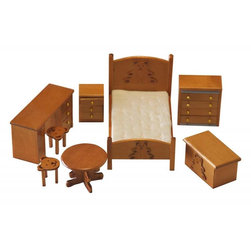 SP861. Ambiente Dormitorio infantil madera para casa de muñecas