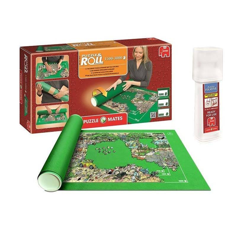 17691 Jumbo. Pack Puzzle Roll 3000 XXL. Tapete universal para transportar/guardar puzzles hasta 3000 piezas + Pegamento puzzles