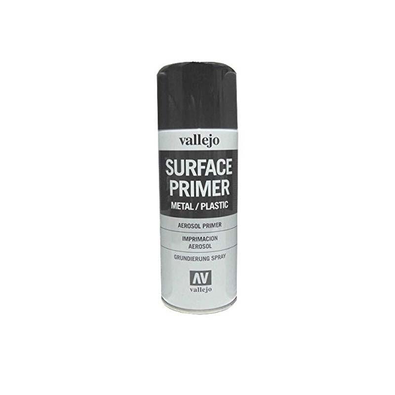 28012 Vallejo.Spray 400ml Pintura Imprimación Negra de grano extra fino, para superficies de plástico o metal
