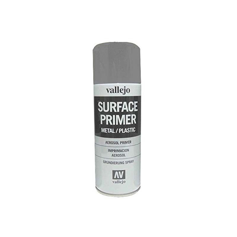 28011 Vallejo. Spray 400ml Pintura Imprimación Gris de grano extra fino, para superficies de plástico o metal
