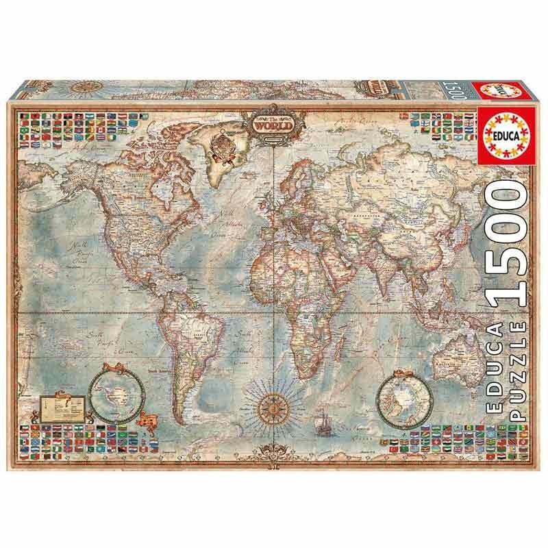 16005 Educa. Puzzle 1500 Piezas Mapa político El Mundo - Mapamundi