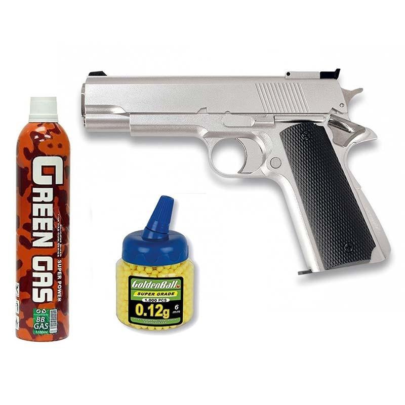 35102 Martínez. Pack Pistola airsoft HFC G16 plata 6mm 23132/18398/21993