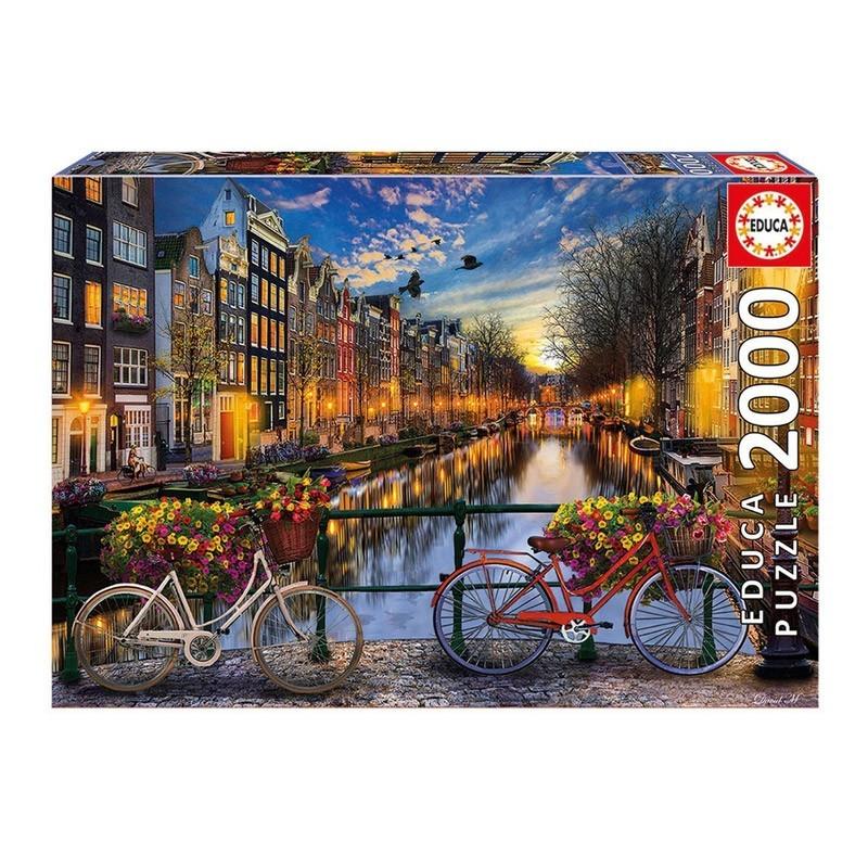 17127 Educa. Puzzle 2000 Piezas Bicicletas y Canal de Ámsterdam