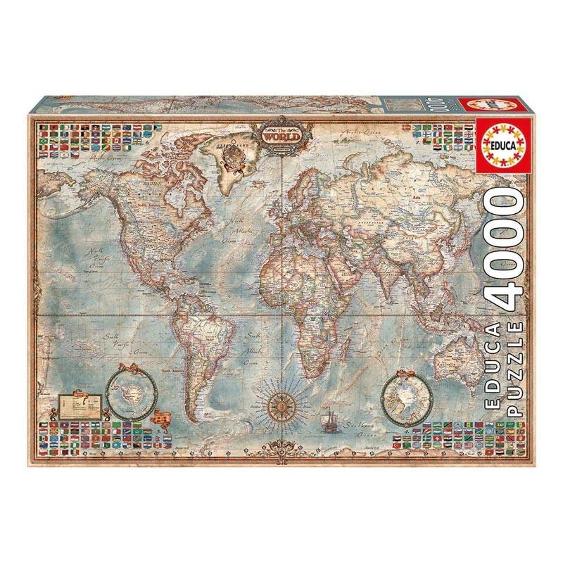 14827 Educa. Puzzle 4000 Piezas Mapa del Mundo Político