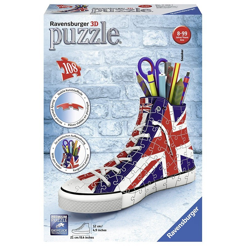 11222 Ravensburger. Puzzle 3D Sneaker Union Jack 108 Piezas