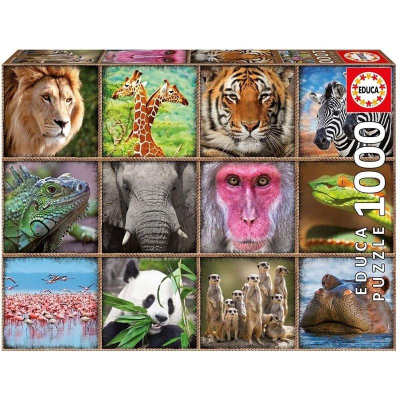 Educa 17656. Puzzle 1000 Piezas Collage Animales Salvajes