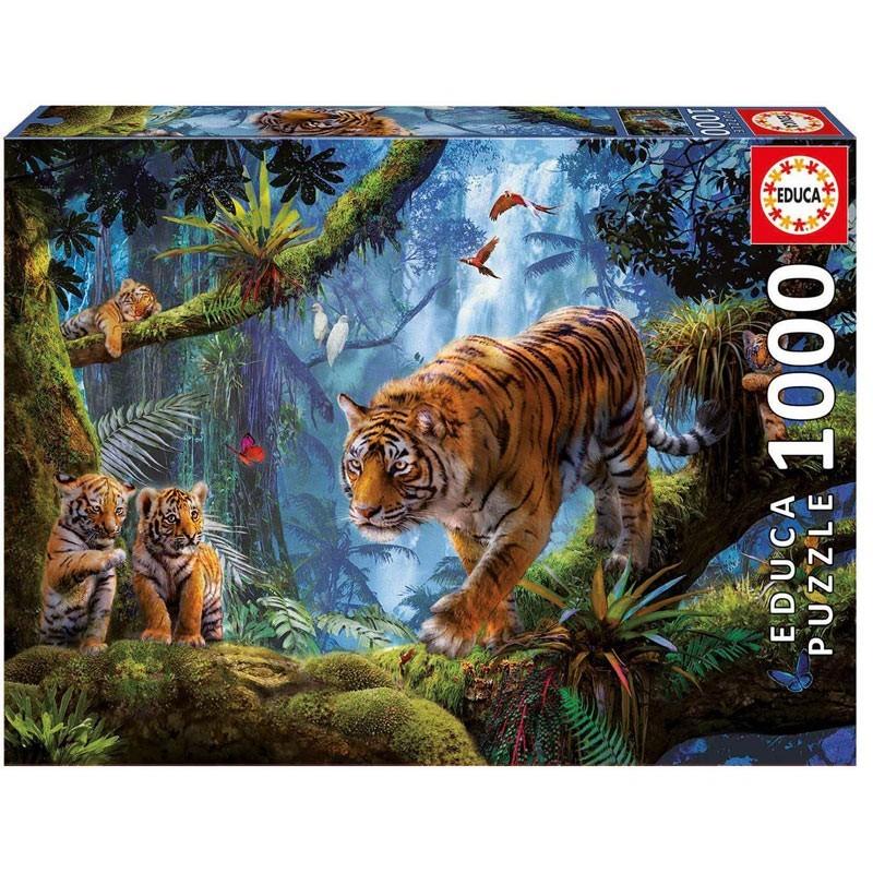 Educa 17662. Puzzle 1000 Piezas Tigres en el árbol