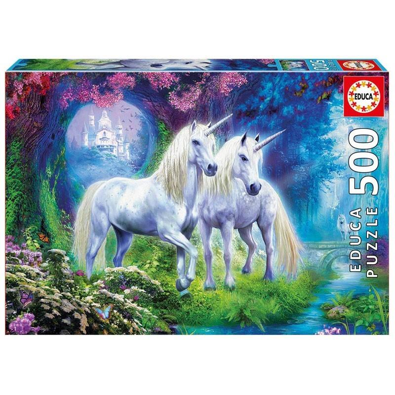Educa 17648. Puzzle 500 Piezas Unicornios en el bosque