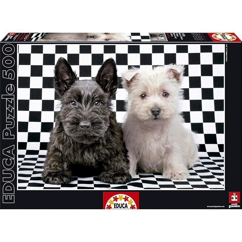 Educa 15508. Puzzle 500 Piezas Terriers Blanco y Negro