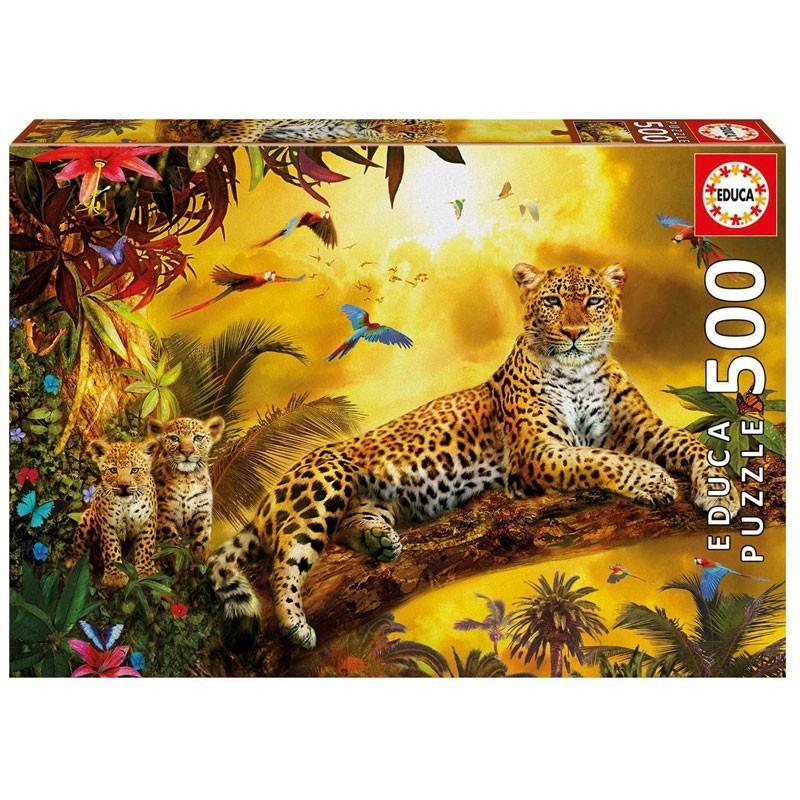 Educa 17736. Puzzle 500 Piezas Leopardo con sus cachorros