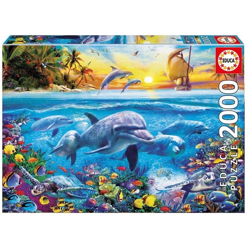 Educa 17672. Puzzle 2000 Piezas Familia de delfines