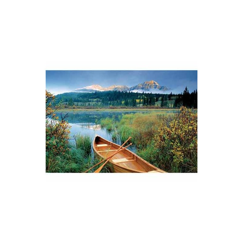 26076. Puzzle Trefl 1500 piezas Canoa en el Lago Jasper, Canada
