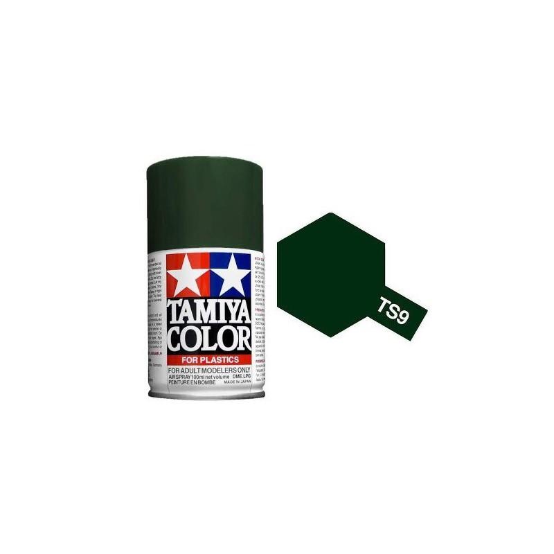 Tamiya 85009. Spray TS-9 Pintura Esmalte Verde Inglés