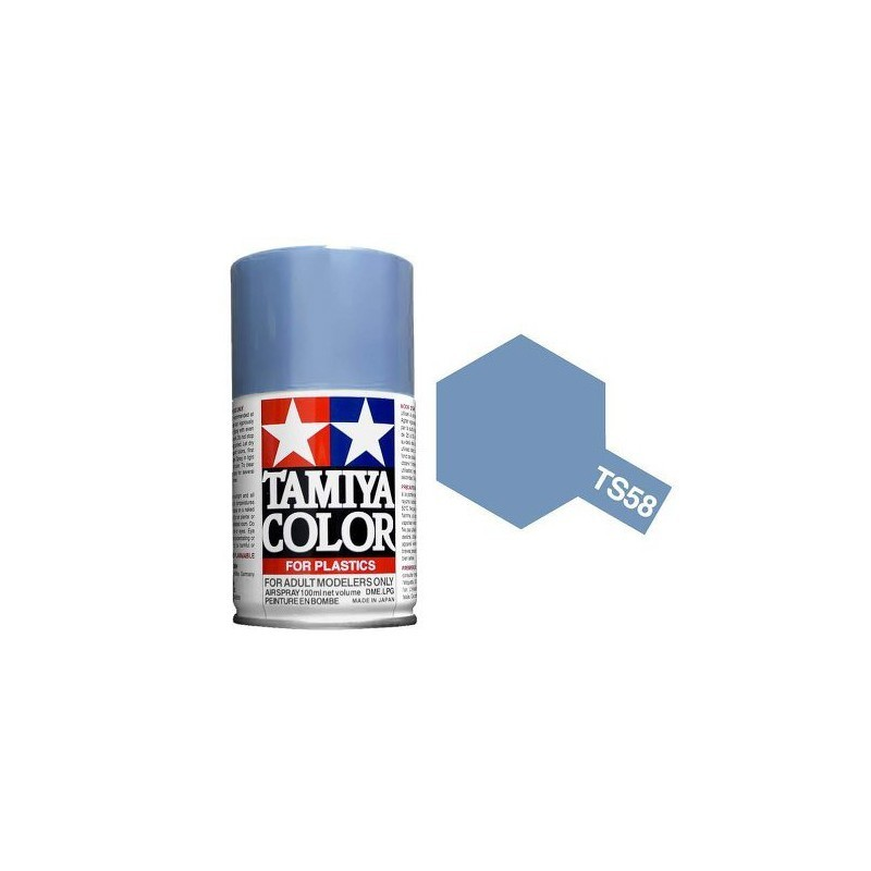 Tamiya 85058. Spray TS-58 Pintura Esmalte Azul Claro Nacarado