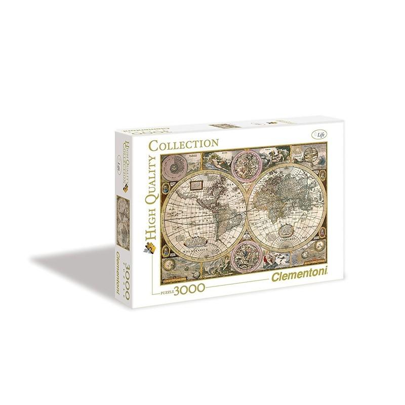 Clementoni 33531. Puzzle 3000 Piezas Mapamundi Antiguo