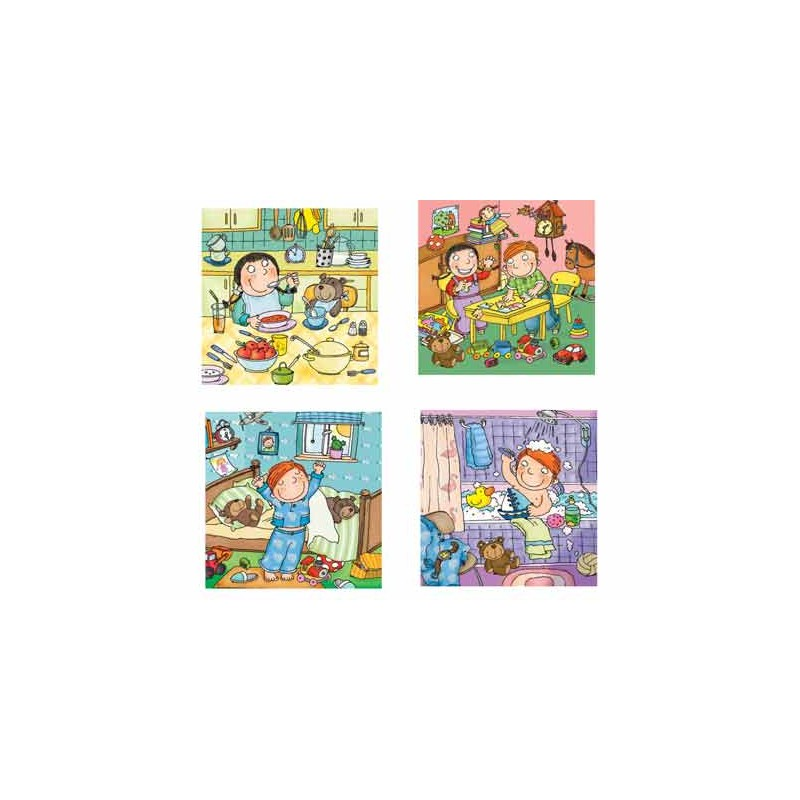 36101.Puzzle Trefl Junior 4x12pzs,Dia de un niño en la guarderia