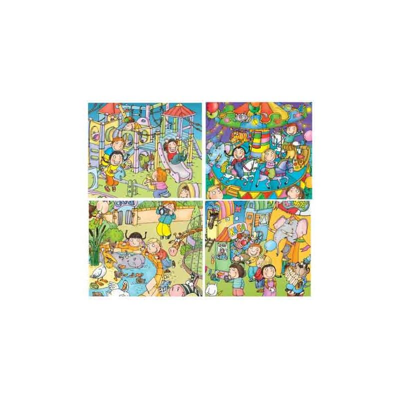 36104. Puzzle Trefl Junior 4x12 piezas, Mundo Diversión