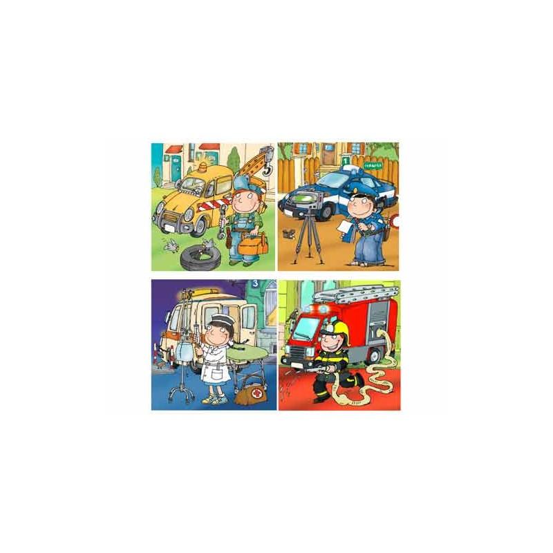 36103. Puzzle Trefl Junior 4x12 piezas, Vehículos de emergencia