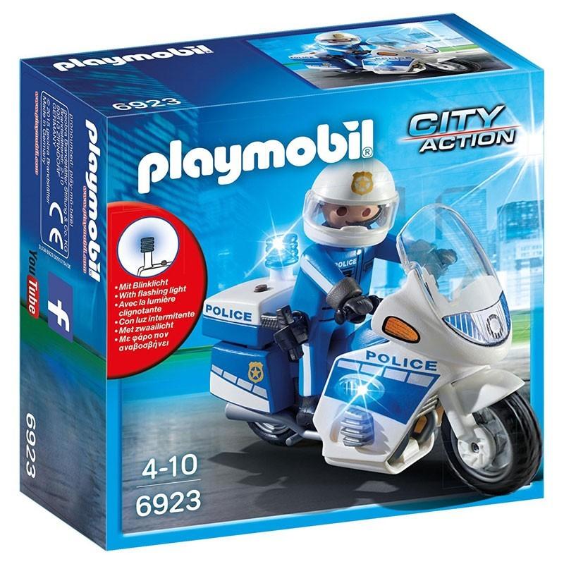 Playmobil 6923. Moto de Policía con luces LED