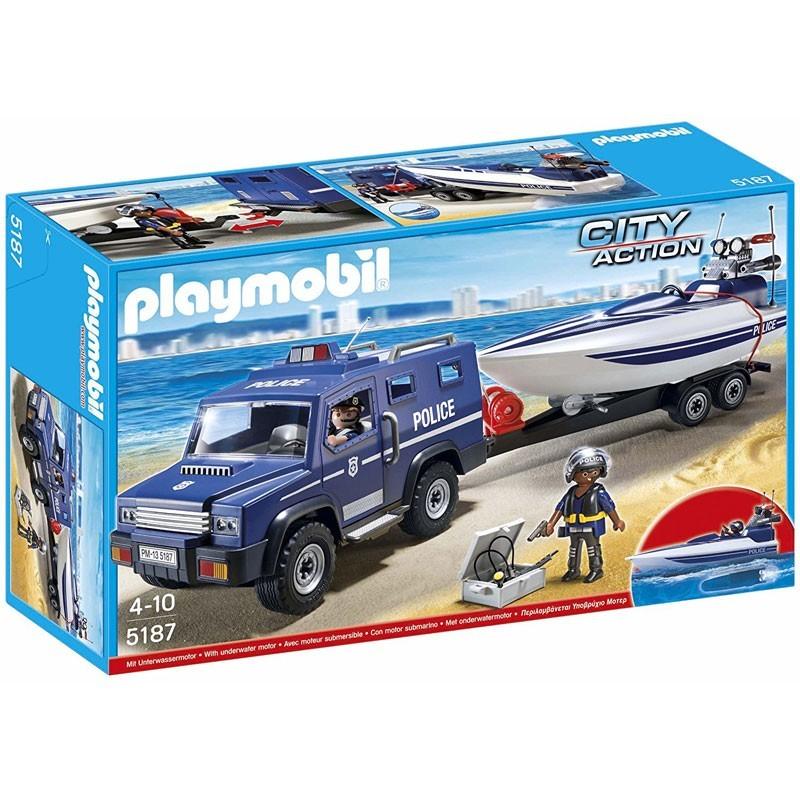 Playmobil 5187. Coche de Policía y Lancha