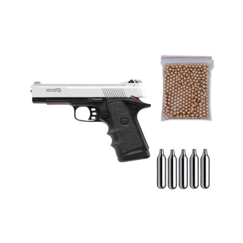 111361 Gamo. Pack Pistola perdigón V-3 Cromo Cal.4,5mm