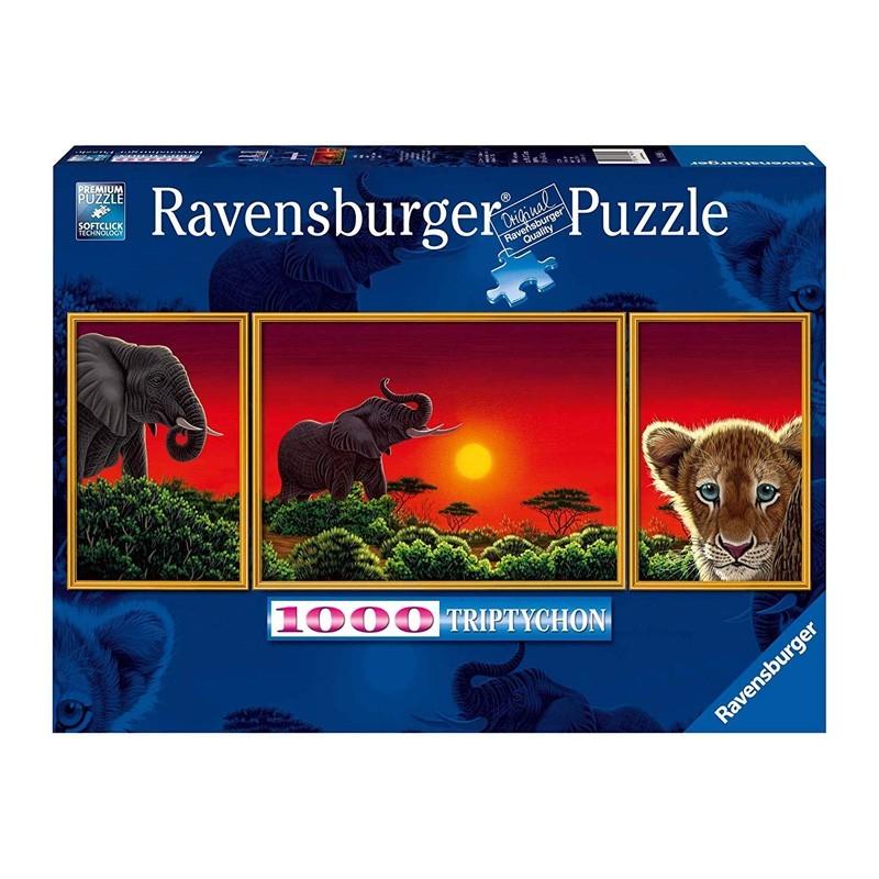 199914. Puzzle Ravensburger 1000 piezas Tríptico Africa